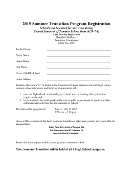 Transition Program Application