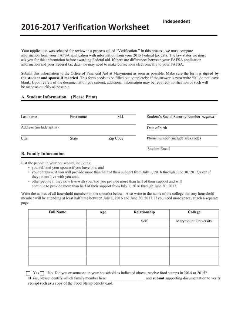 Independent Verification Form – Verification Worksheet