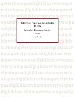 Reflection Paper on the Adlerian Theory