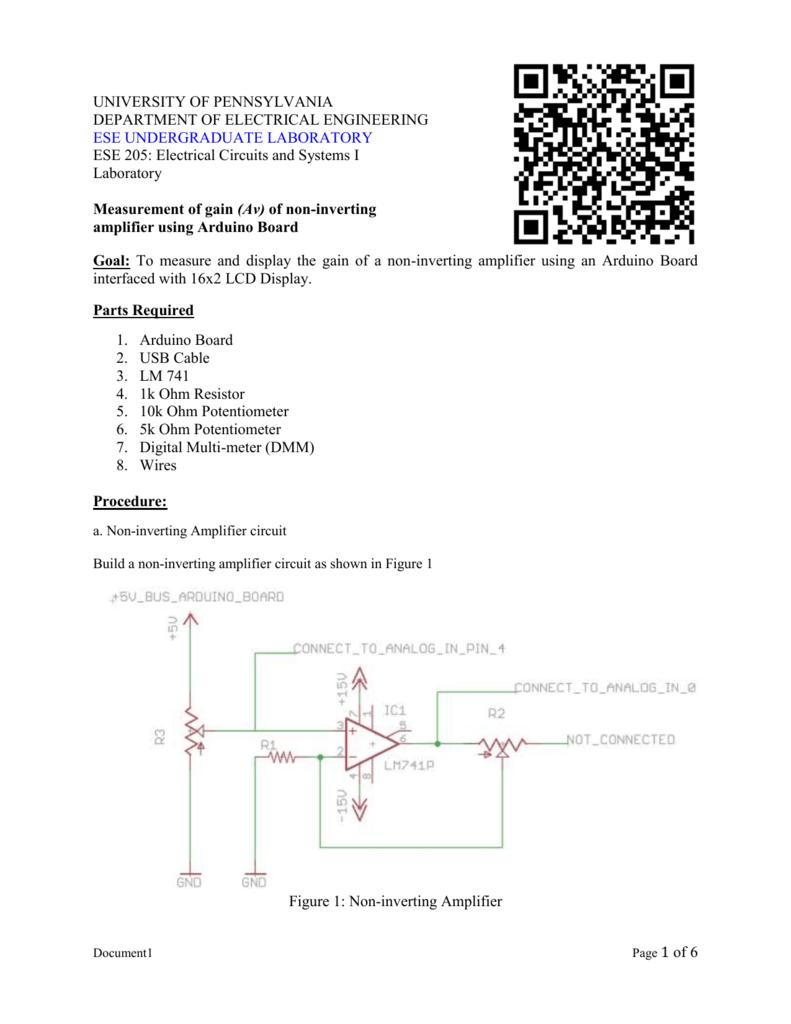 Measurement Of Gain Av Non Inverting Amplifier Using Arduino Circuit Diagram