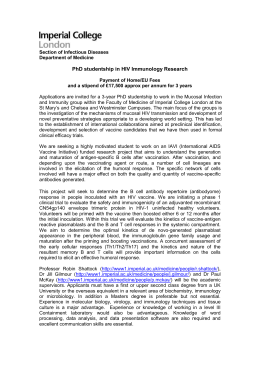PhD studentship in HIV Immunology Research