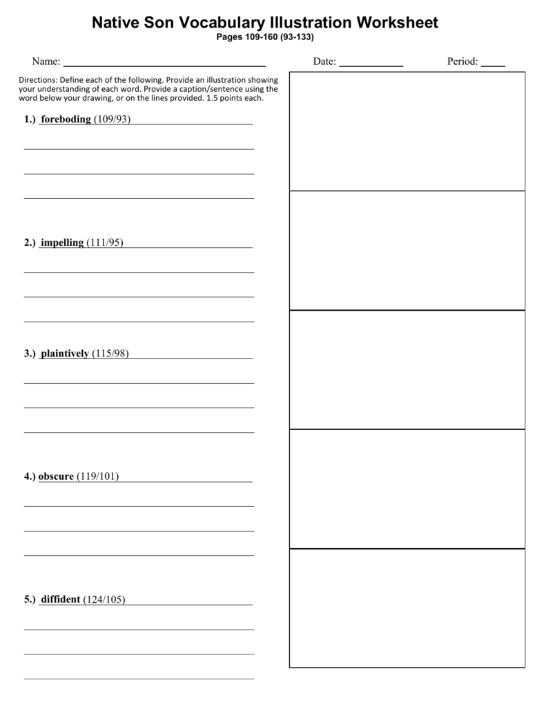 Workbooks using illustrations to understand text worksheets : Native Son Vocabulary Illustration Worksheet