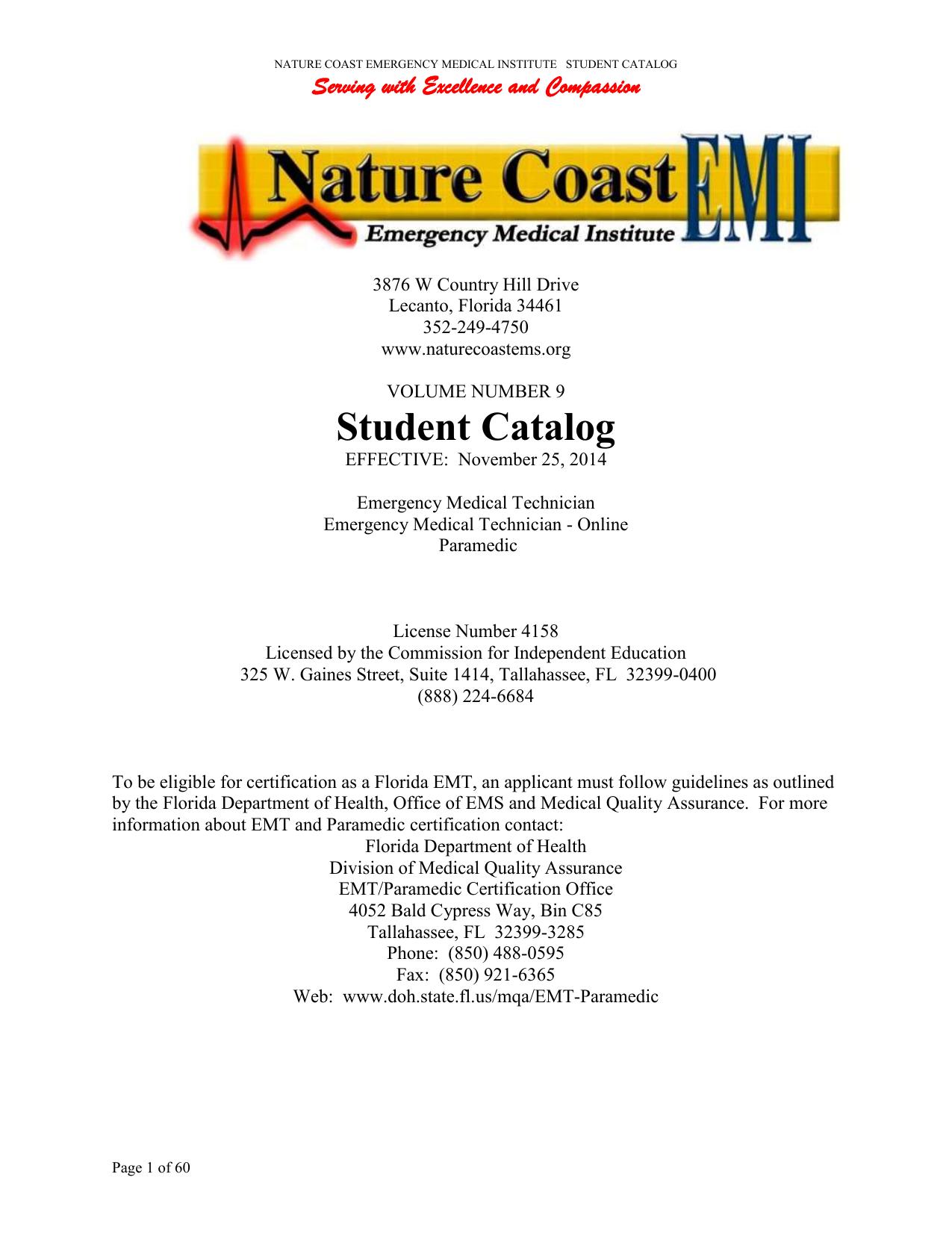 Student Catalog - Nature Coast EMS