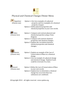 Physical and Chemical Changes Dinner Menu