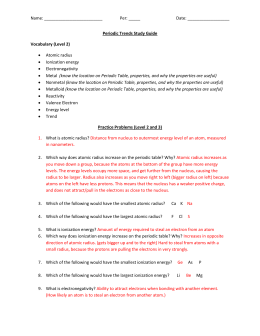 Worksheet periodic trends name per date periodic trends study guide vocabulary urtaz Choice Image