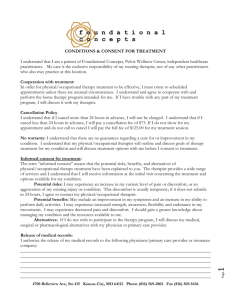 CONDITIONS & CONSENT FOR PHYSICAL THERAPY