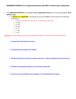 GRAMMAR HANDOUT #1: Compound Sentences