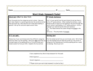 Word Study Homework Packet