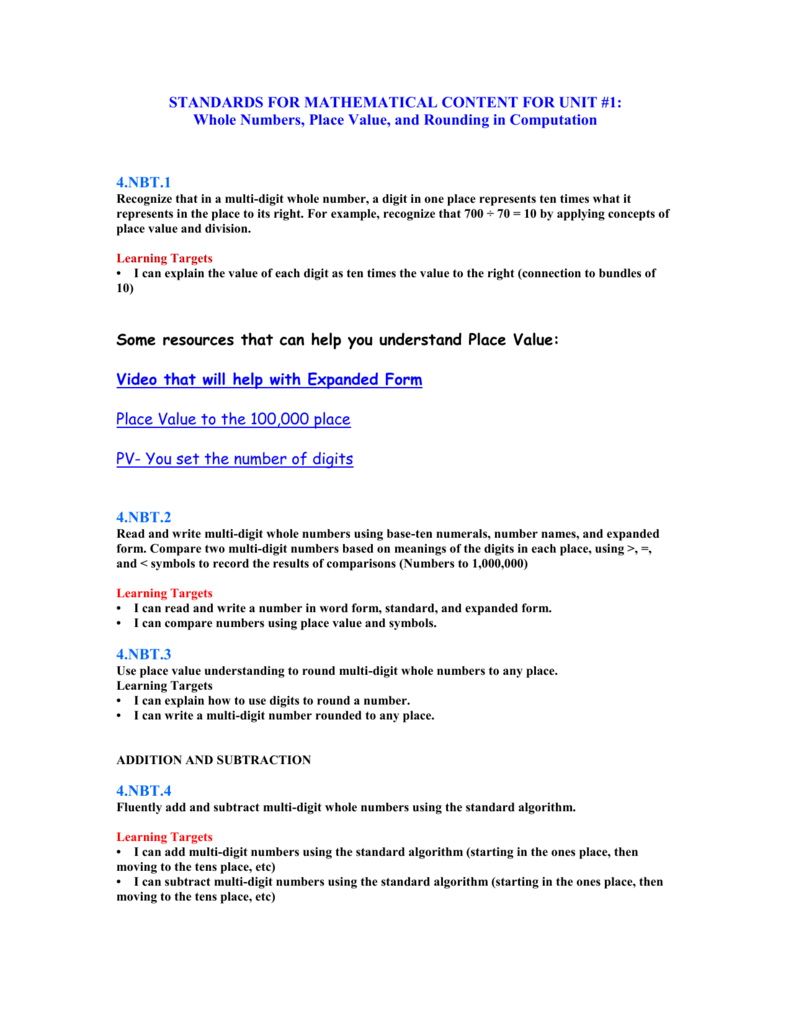 Unit 1 Standards For Mathematical Content