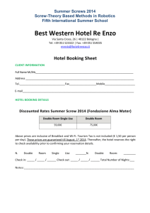 Hotel Booking Sheet - Summer Screws 2014