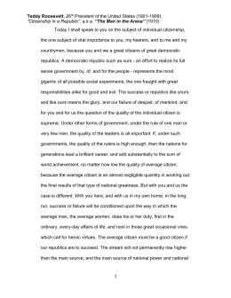 citizenship dbq background essay teddy roosevelt 26th president of the united states 1901
