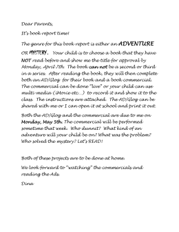 Parent Letter Mystery/Adventure Book Report