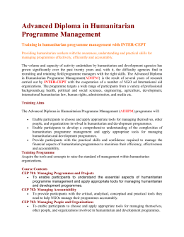 Advanced Diploma in Humanitarian Programme