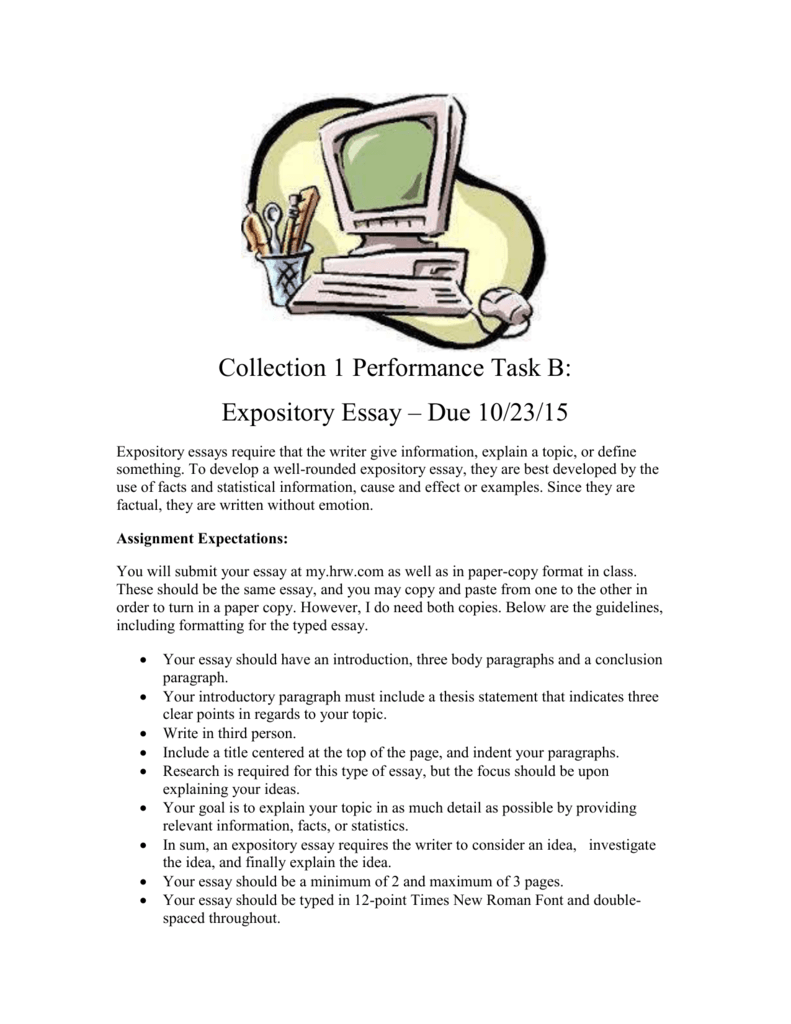 collection performance task b expository essay due