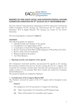 Report of the LCAC Meeting 31st Aug to 2nd Sept 2015