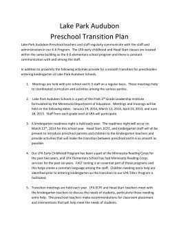 Preschool Transition Plan - Lake Park Audubon Schools