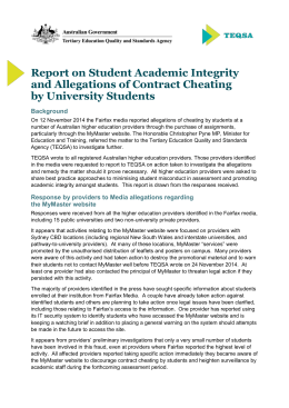 Report on Student Academic Integrity and Allegations of Contract