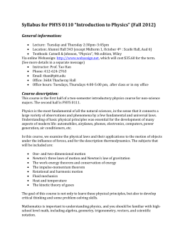 "Syllabus for PHYS 0110 ""Introduction to Physics"" (Fall 2012)"
