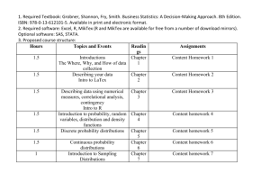 Hours Topics and Events Readings Assignments