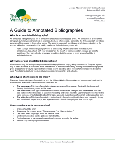 A Guide to Annotated Bibliographies
