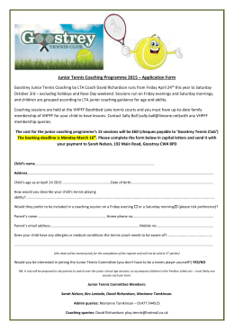junior coaching booking form