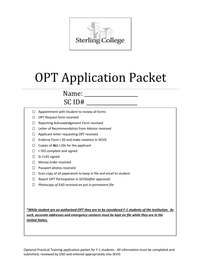 Opt Application Packet