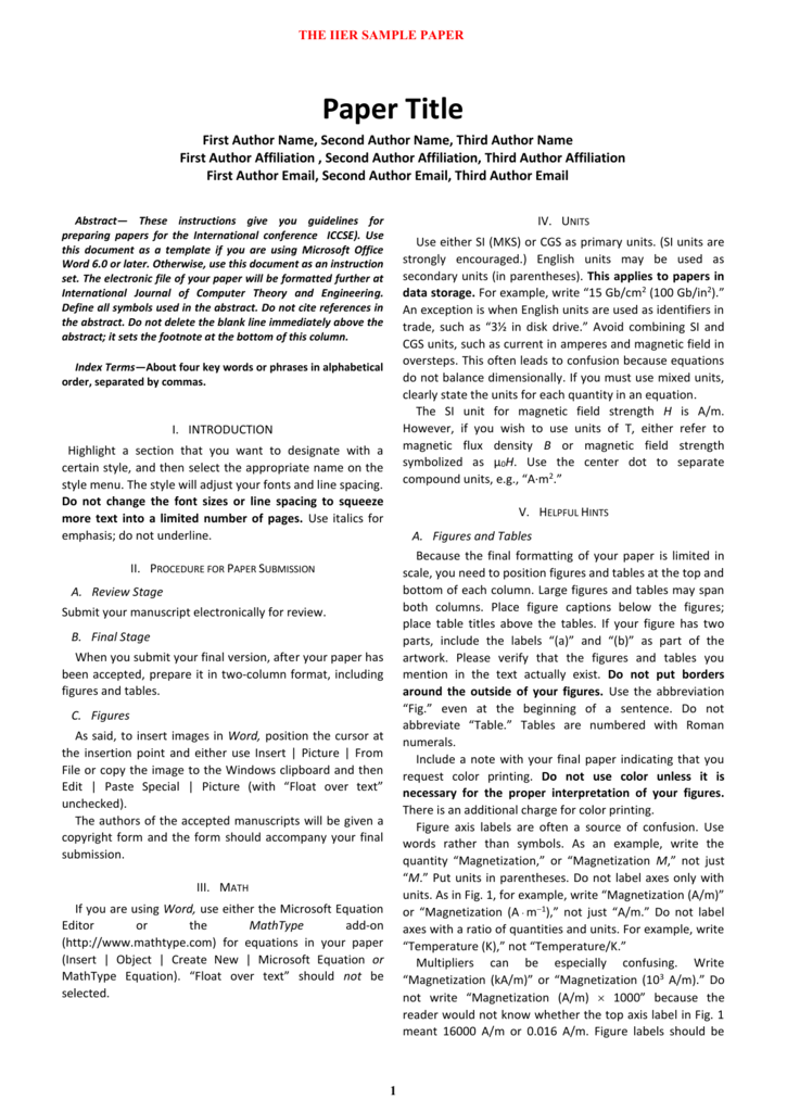 IIER Journal/Conference Template ( doc format)