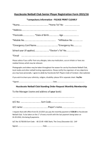 Hucclecote Netball Club Senior Player Registration Form 2014/15