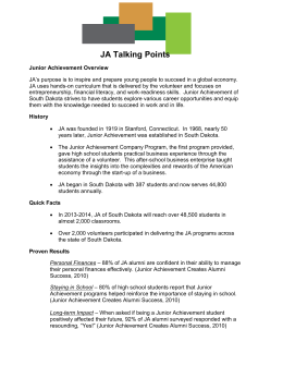 JA Talking Points 14-15 - Junior Achievement of South Dakota