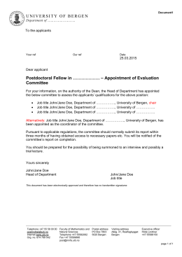 Postdoctoral Fellow in ………………. – Appointment of Evaluation