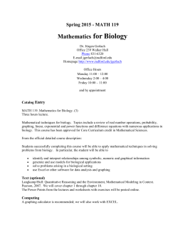 Spring 2015 - MATH 119 Mathematics for Biology