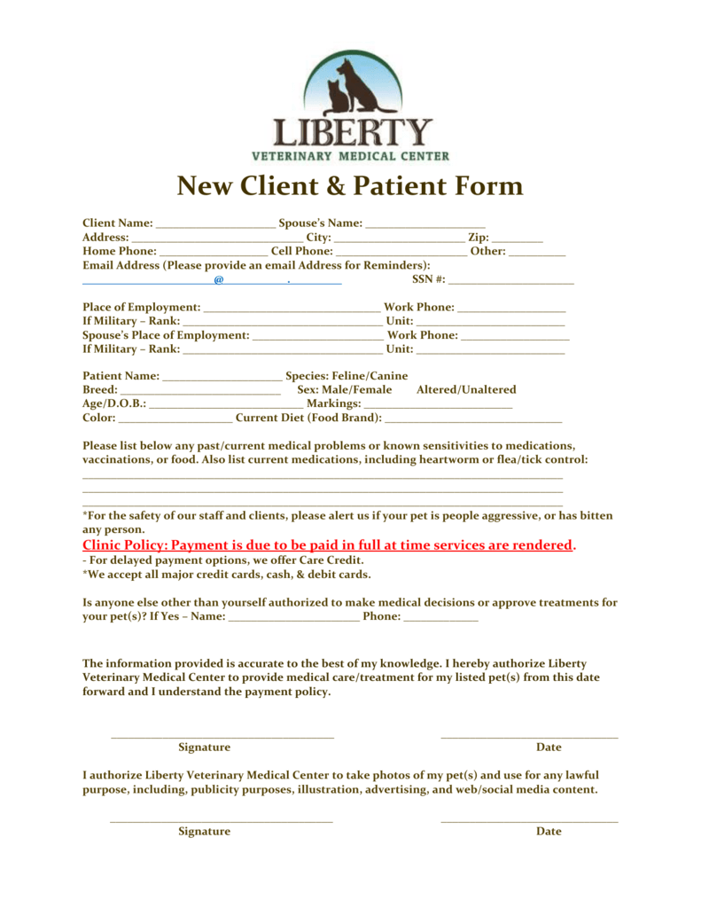 & Print Form - Liberty Veterinary Medical Center on new patient charting, new patient form template, blank patient information forms, insurance medical forms, new patient admissions, medical triage forms, new patient information form, patient health forms, patient info forms, printable doctor fill out forms, new patient signs, hipaa patient consent forms, new baby medical forms, new patient intake form, blank medical history forms, printable nursing assessment forms, surgery medical forms, physical medical forms, diagnosis medical forms, emergency medical forms,