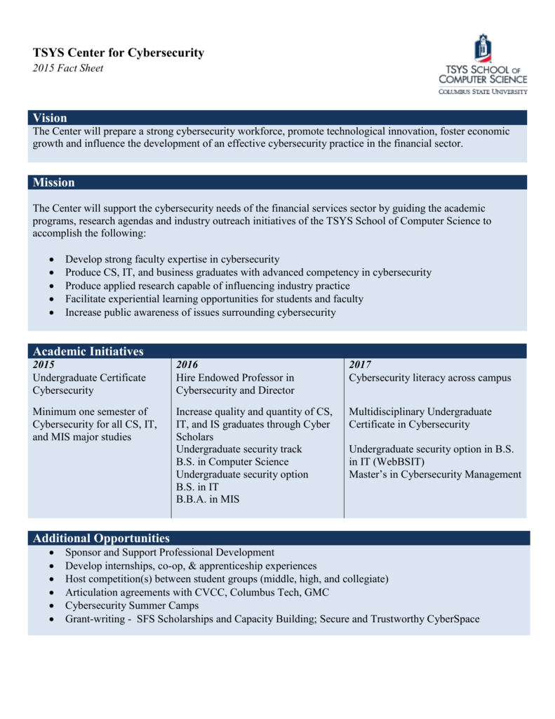 Center for Cybersecurity Fact Sheet