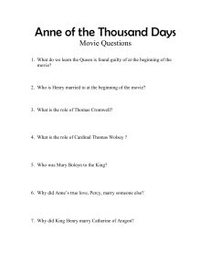 Anne of the Thousand Days movie questions complete set