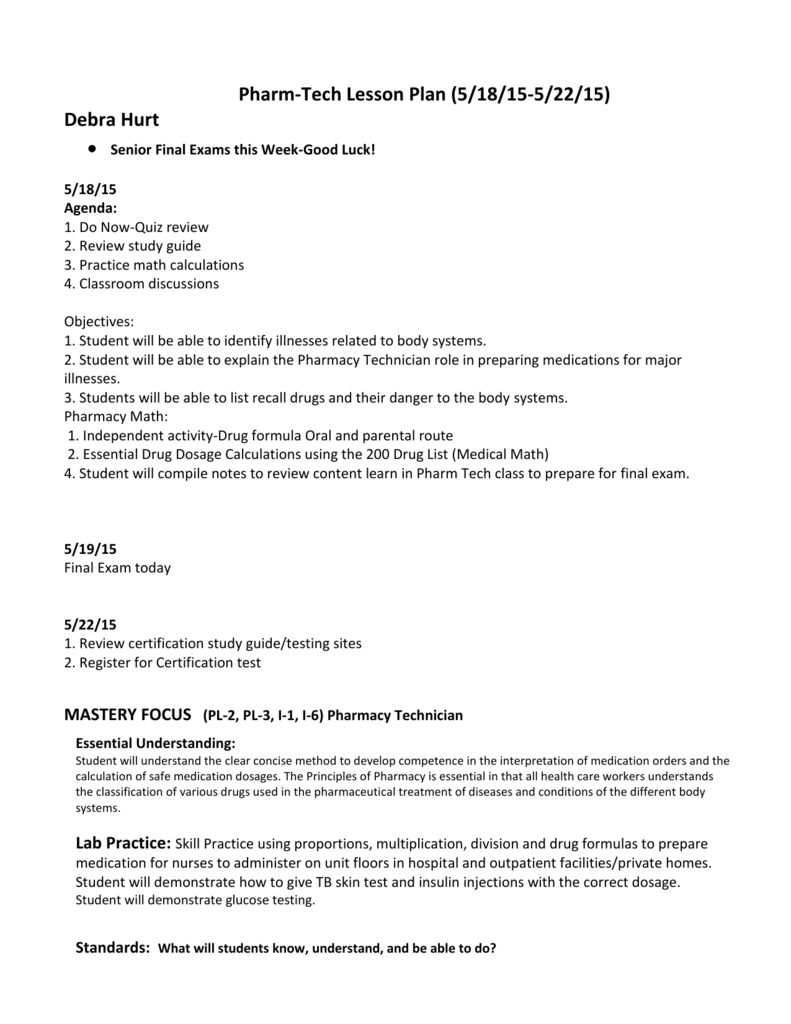 Worksheets Pharmacy Technician Worksheets pharm tech lesson plan