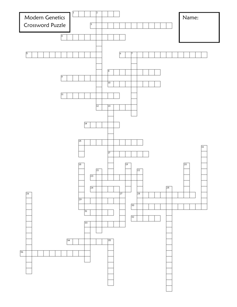 Modern genetics crossword puzzle name across 1 the passing of malvernweather Choice Image
