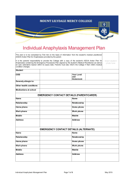Anaphylaxis Management Plan
