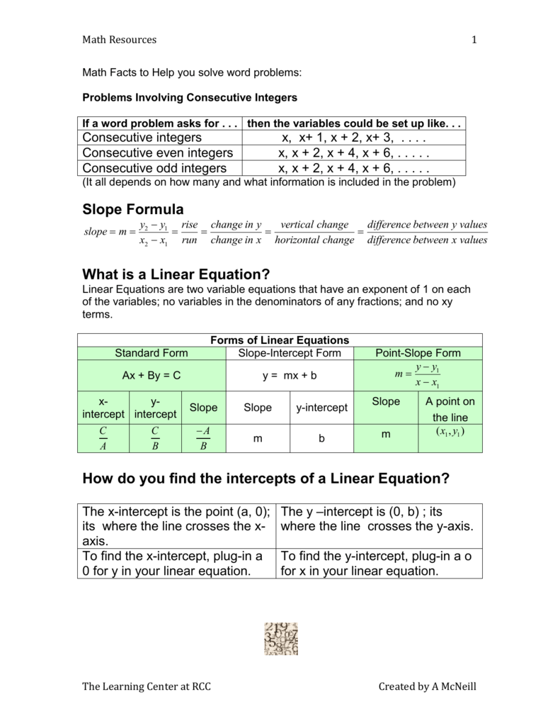 Miscellaneous Math Facts