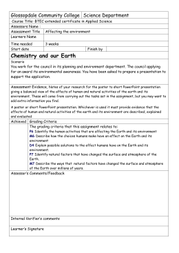 Affecting the Earth - Glossopdale Community College