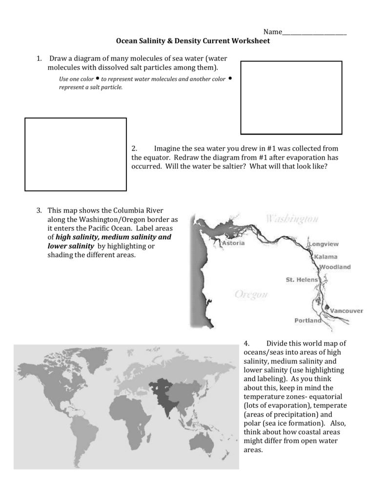worksheet Ocean Currents Worksheet worksheet ocean current thedanks for everyone salinity populations