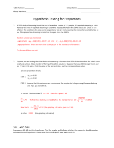Hypothesis testing for ProportionsKEY