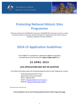 Protecting National Historic Sites programme - 2014