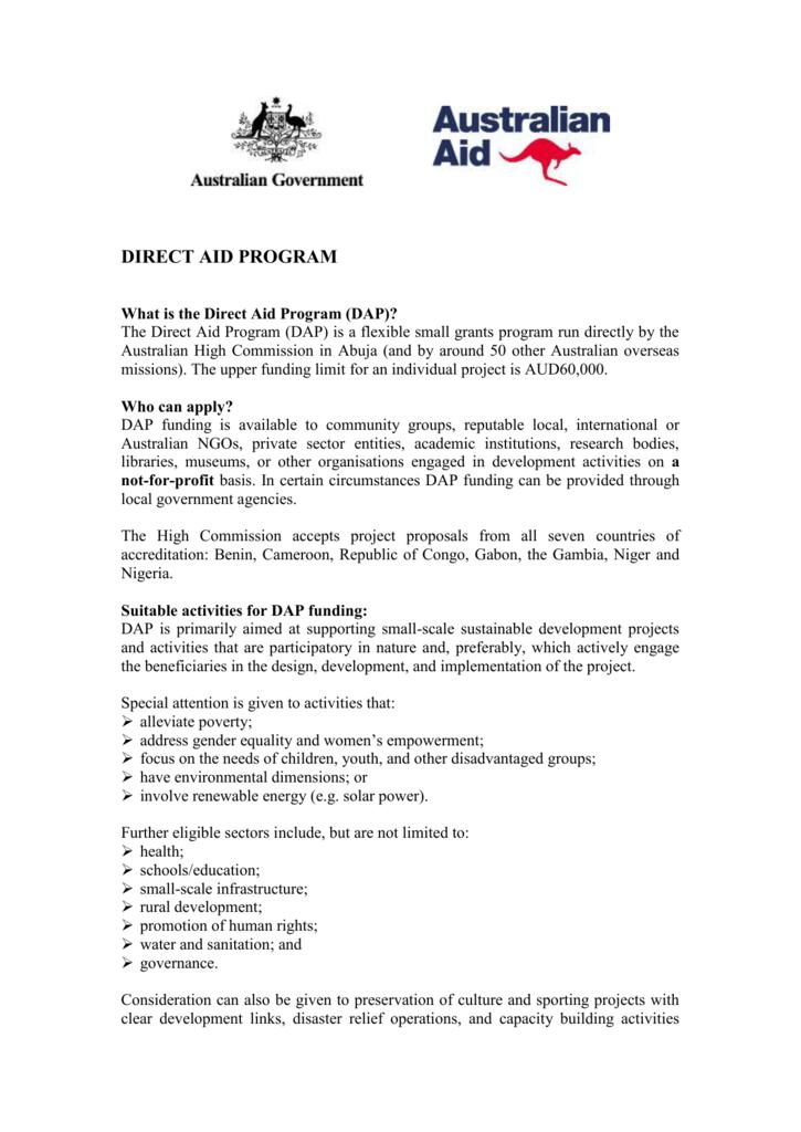 direct aid program - Australian High Commission