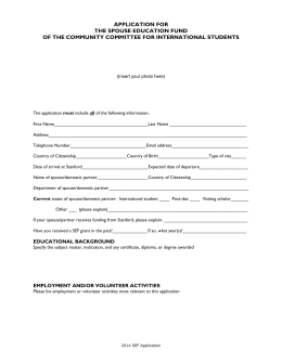 APPLICATION FOR THE SPOUSE EDUCATION FUND OF THE