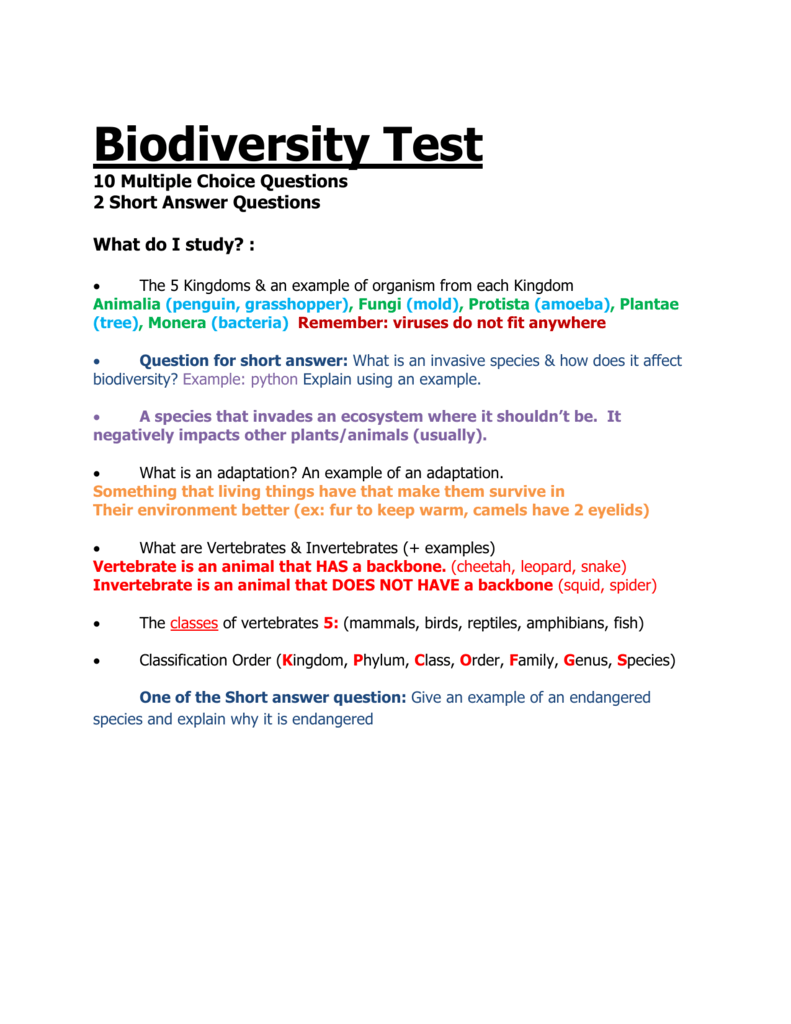 Biodiversity test 10 multiple choice questions 2 short robcynllc Gallery
