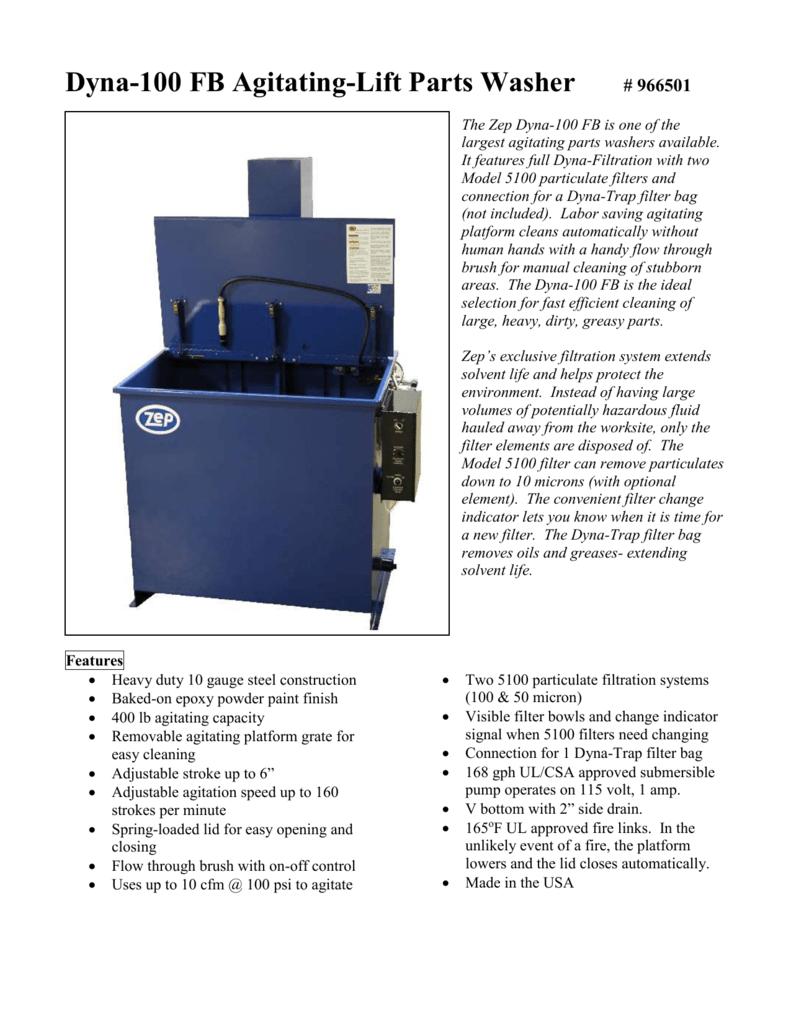 Dyna-100 FB Agitating-Lift Parts Washer # 966501