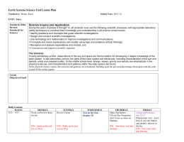 Earth Systems Science Unit Lesson Plan