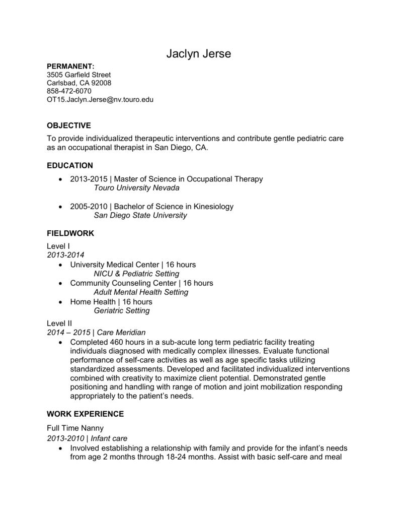 ot resume
