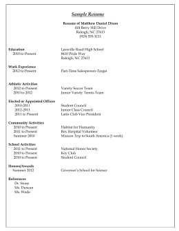 Sample Resume - Leesville Road High School Student Services