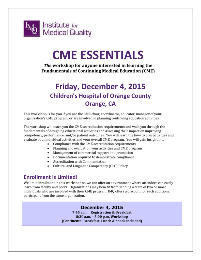 Cme Institute For Medical Quality